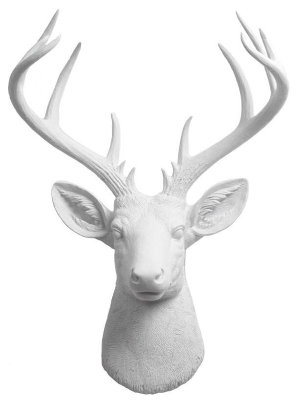 White Resin Xl Deer head Sculpture Wall Decor