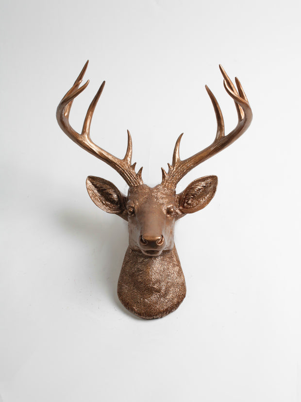Fake Bronze Xl Deer head Sculpture Wall Decor
