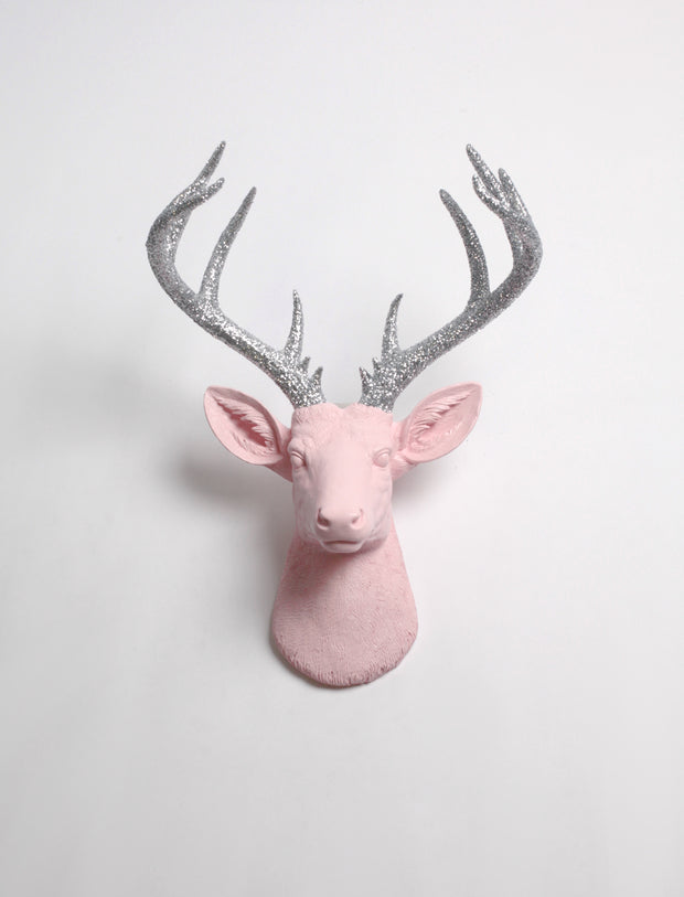 XL Deer Head in Cameo Pink & silver Glitter Wall Mount. Cameo-Pink Resin XL Deer Head Mount, Silver Glitter Antler Decor