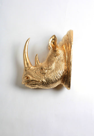The Goliath in Gold | XL Resin Rhino Head Wall Mount