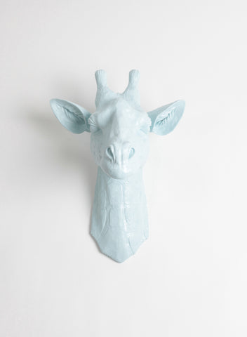The Frost | Large Faux Giraffe Head | Faux Taxidermy | Frost-Blue Resin