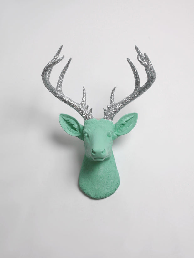 seafoam-green Resin XL Deer Head Mount, Silver-Glitter Antler Decor. Extra Large Fake Deer Head Wall Mount in Seafoam with Glitter Antlers