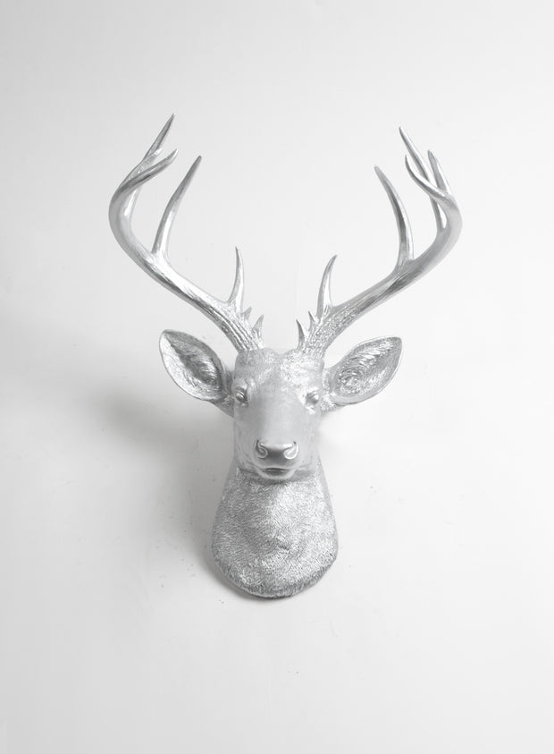 Aluminum Colored Resin Deer Head Mount, Exra Large Fake Stag Wall Hanging