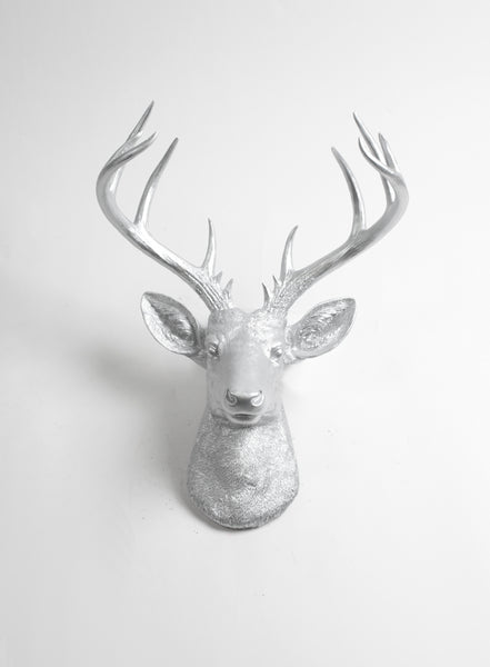 Silver resin deer head wall mount the xl hesher faux taxidermy decor white faux taxidermy - Silver stag head wall mount ...