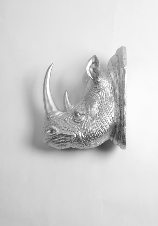 Silver Rhino Head Wall Mount