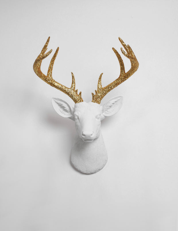 glitter deer head wall mount, white deer head hanging with gold glitter faux deer antlers