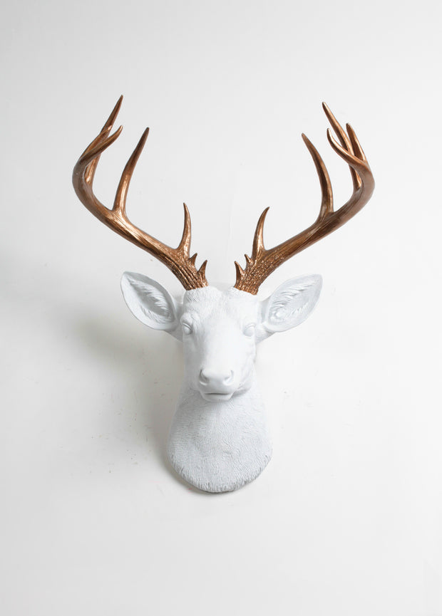 white Resin XL Stag Head Mount, Bronze Antler Decor. Large White Fake Deer Head Hanging with Metallic Bronze Resin Deer Antlers