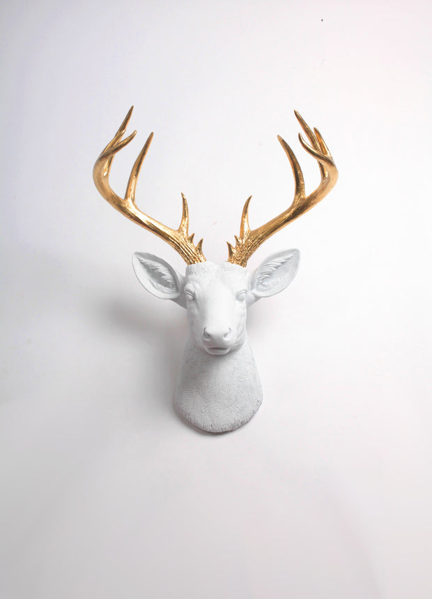 white Resin XL Deer Head Mount, Gold Antler Decor. The Alfred Stag Head Wall Hanging