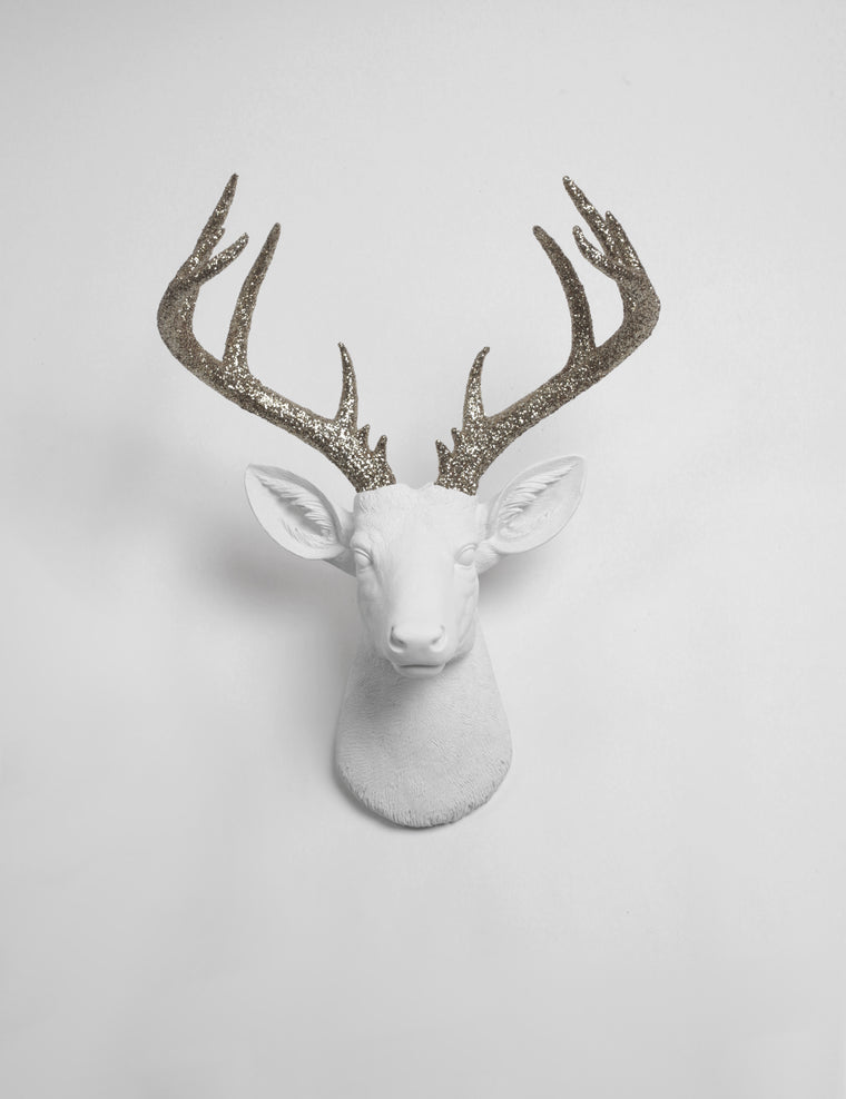 The XL Weston | White Stag Deer Head Wall Mount W/ Silver Glitter Antlers | Faux Taxidermy