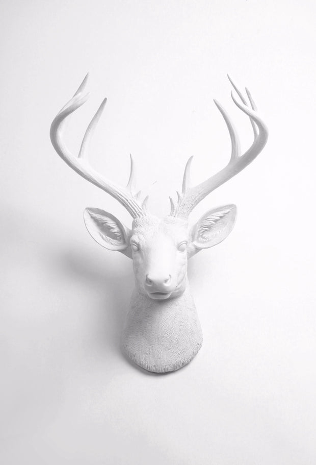 Large Fake Taxidermy White Modern Deer Head Wall Mount, The XL Templeton