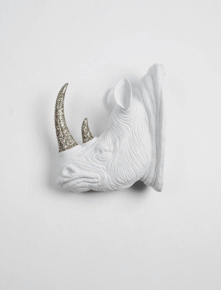 The Goliath in White & Silver Glitter Horn | XL Faux Rhino Head Wall Mount