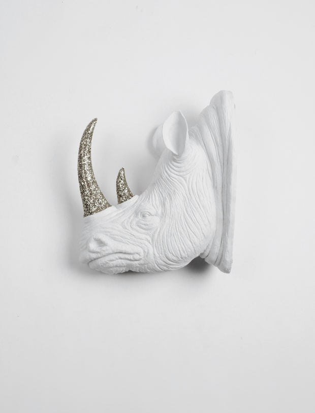 Rhino Head Wall Mount with silver Glitter Horn