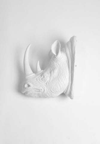 The Goliath in White | XL White Resin Rhino Head Wall Mount