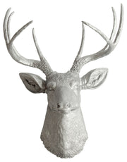 aluminum colored resin faux stag head wall mount