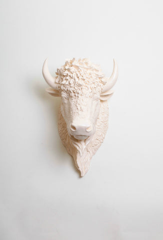 The Aspen | Bison Head | Faux Taxidermy | Antique White Resin