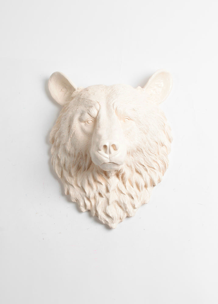 The Anda | Bear Head | Faux Taxidermy | Antique White Resin