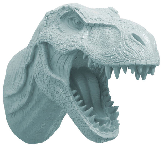 powder-blue color t rex dinosaur head trophy wall mount