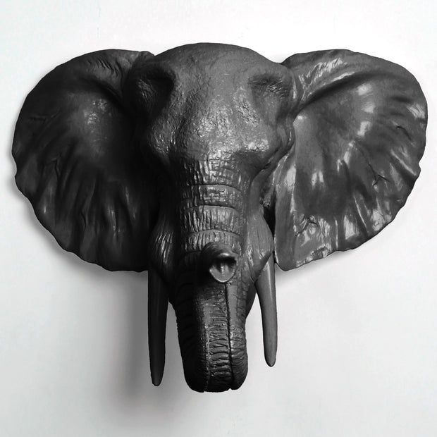The Tolsby in Black | Elephant Head Wall Mount Faux Taxidermy | Boho Decor