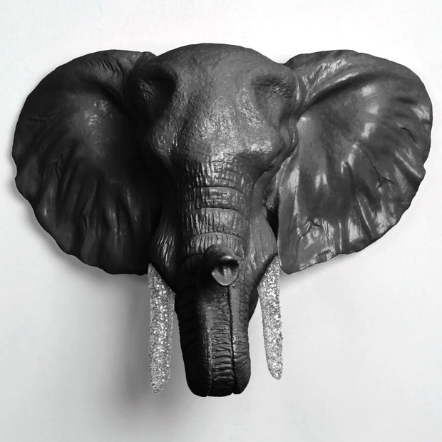 The Tolsby in Black w/ Silver Glitter | Elephant Head Wall Mount Faux Taxidermy | Boho Decor