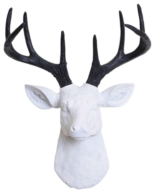 mini white resin deer head sculpture & black antler decor wall hanging