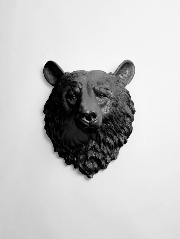 The Nordi | Bear Head | Faux Taxidermy | Black Resin