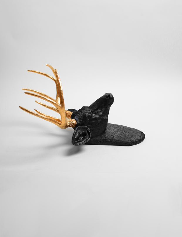 The Alexandr | Black & Gold Deer Head Wall Decoration, Faux Stag