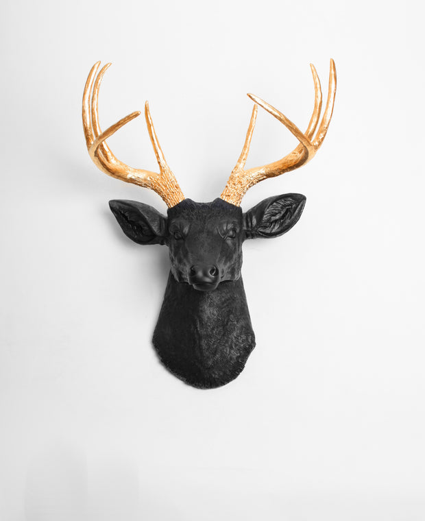 faux deer head wall decoration, black head with gold antler decor