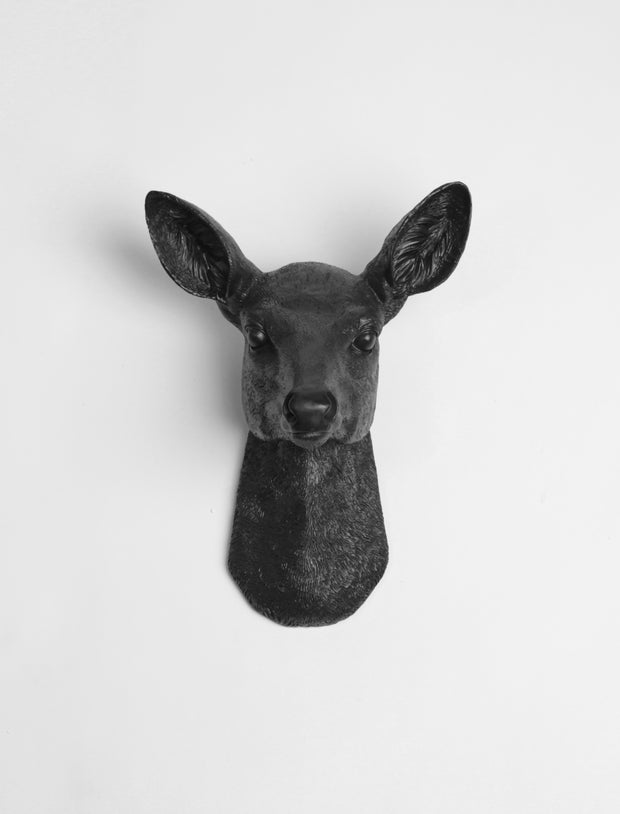 "Black Doe Head Wall Mount, The Ophelia straight on. 11.5"" tall."