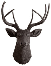 black faux stag head wall mount