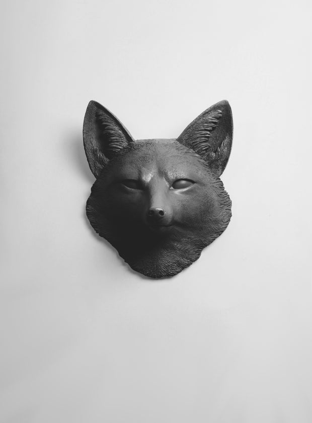 The Sylvester in Black, Faux Taxidermy Fox Decor Head