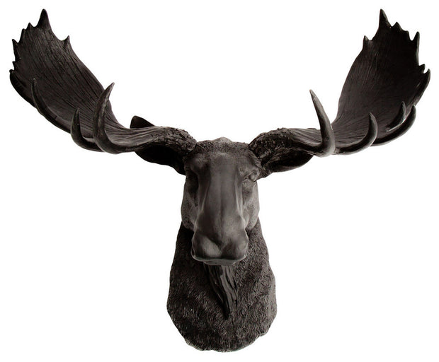black resin faux moose head wall hanging by WhiteFauxTaxidermy
