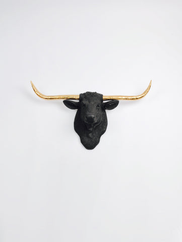The Remington in Black W/ Gold Horns | Texas Longhorn Wall Mount | Faux Cow Head