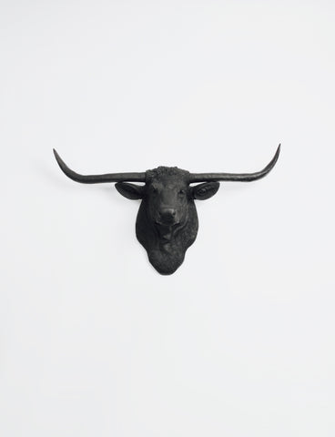 The Remington in Black | Texas Longhorn Wall Mount | Faux Cow Head