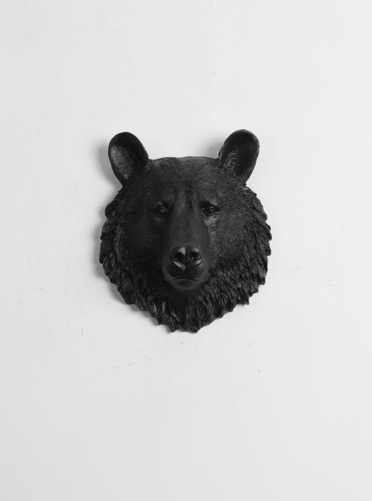 The Tippens | Mini Bear Head | Faux Taxidermy | Black Resin