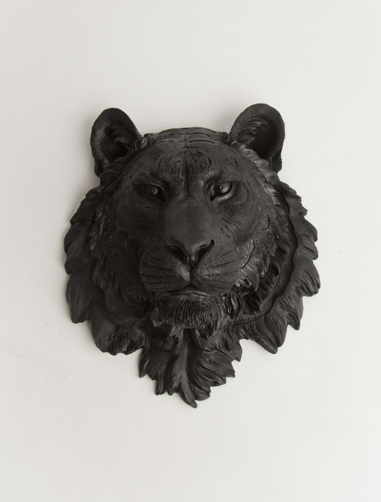 The Ludwig | Tiger Head | Faux Taxidermy | Black Resin