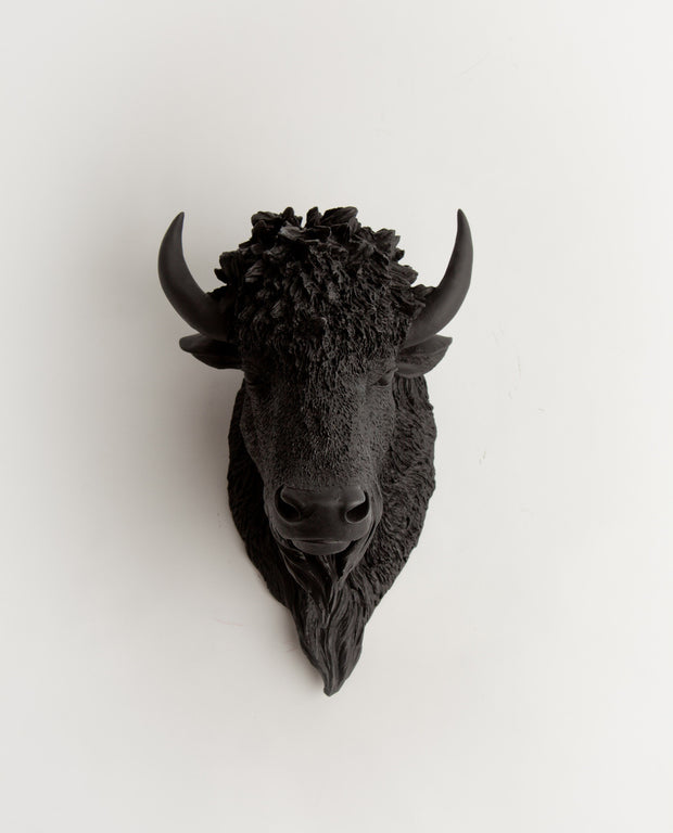 The Manstad | Bison Head | Faux Taxidermy | Black Resin
