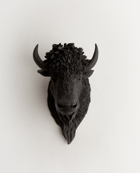 The Manstad Bison Head Faux Taxidermy Black Resin