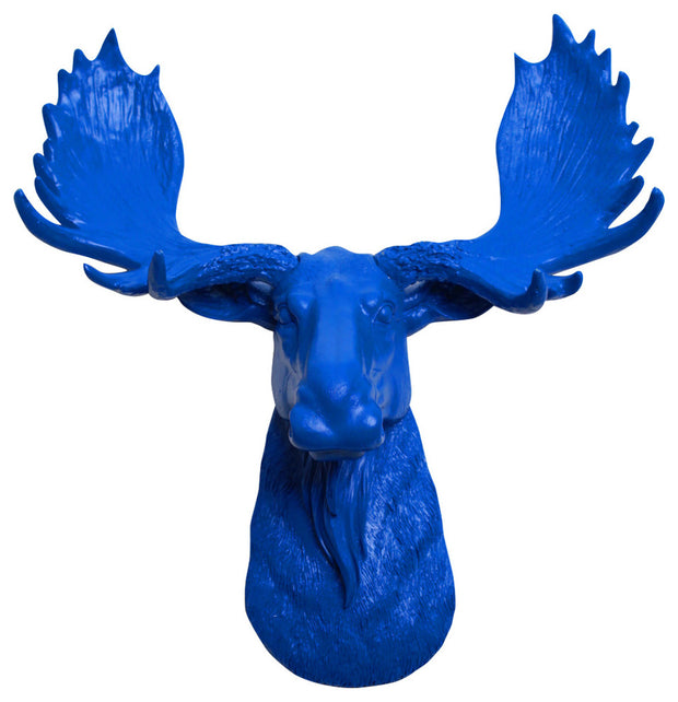 blue resin mini moose head faux taxidermy art by WhiteFauxTaxidermy