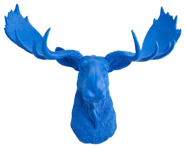 blue resin faux moose head wall hanging by WhiteFauxTaxidermy