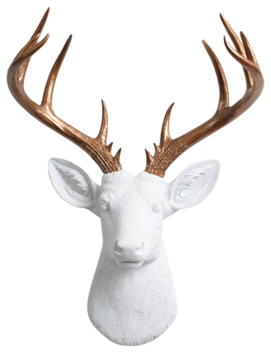 white Resin XL Stag Head Mount, Bronze Antler Decor