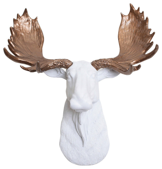 Bronze resin antlers & mini white moose head wall mount by White Faux Taxidermy