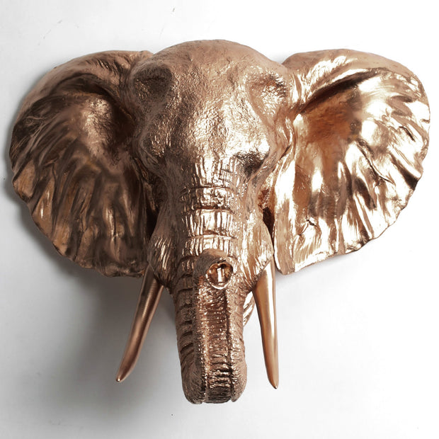The Tolsby in Bronze | Elephant Head Wall Mount Faux Taxidermy | Boho Decor