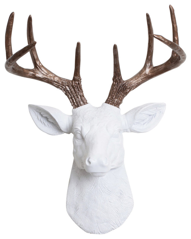 mini white resin deer head sculpture & bronze antler decor wall hanging