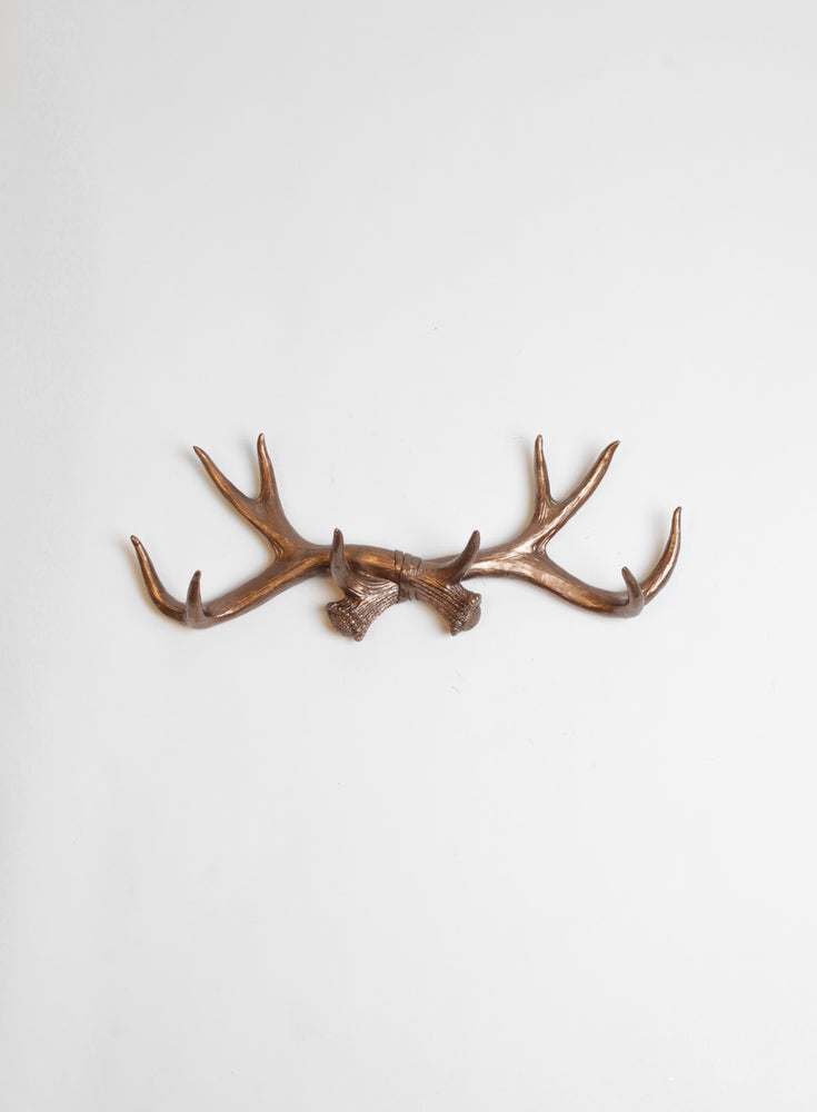 Bronze Antler Wall Rack | Faux Antler Hook | Bronze Resin