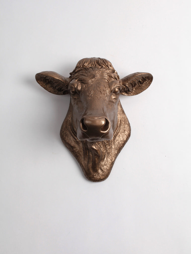 The Bessie In Bronze Cow Head Wall Decor White Faux