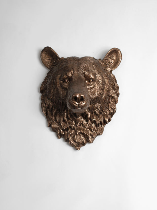 The Alberta | Bear Head | Faux Taxidermy | Bronze Resin