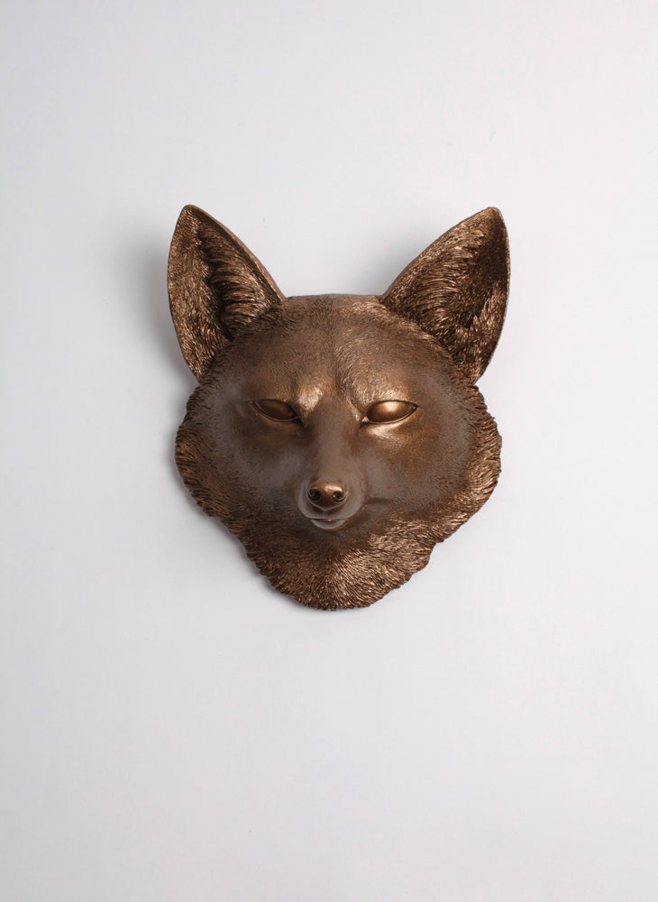The Sylvester in Bronze, Faux Taxidermy Fox Decor Head