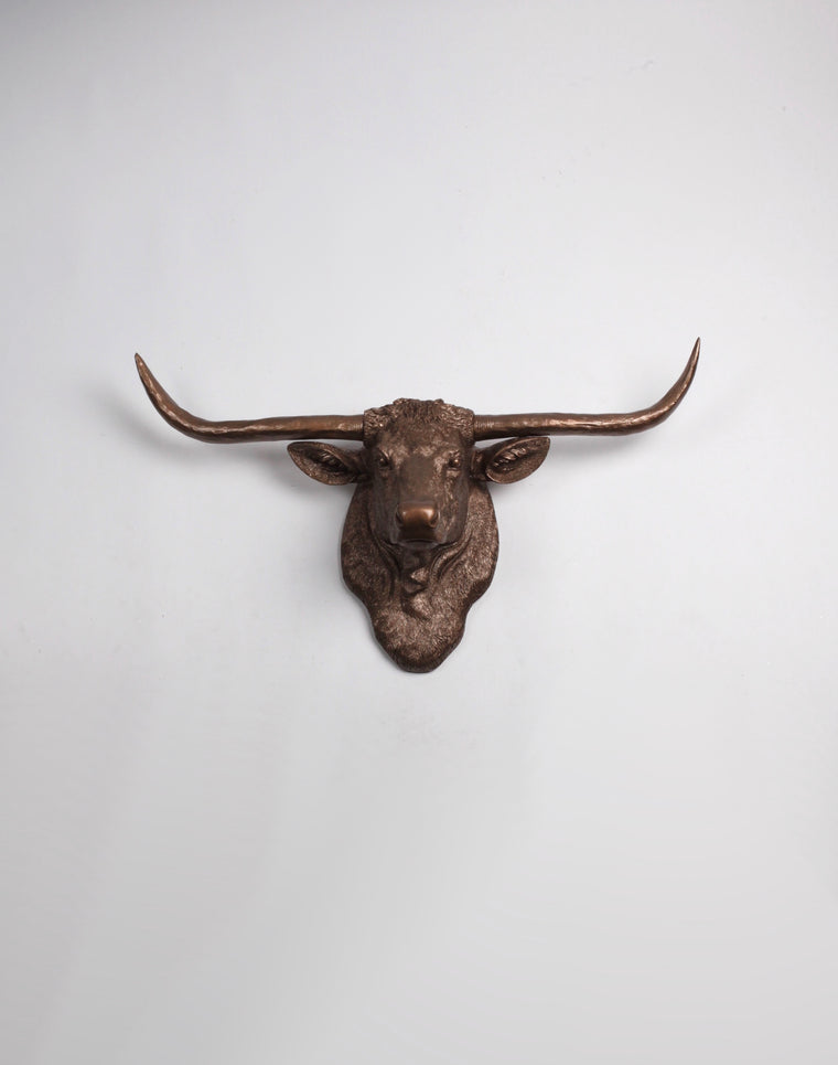 The Remington in Bronze | Texas Longhorn Wall Mount | Faux Cow Head