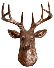bronze ceramic-like resin mini mounted deer head sculpture wall decor