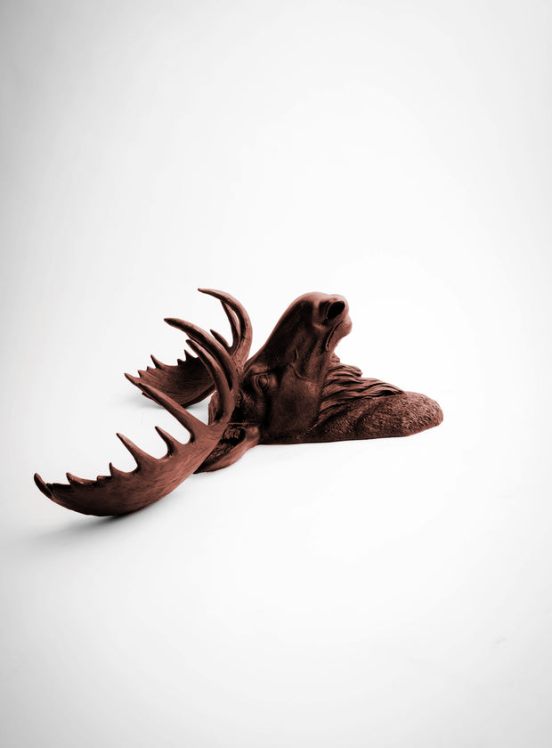 The Augustus | Moose Head | Faux Taxidermy | Brown Resin